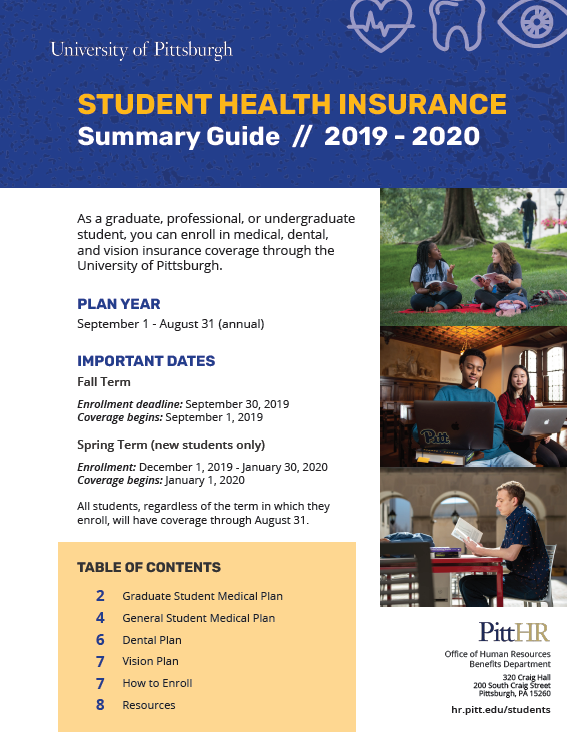 2019-20 Student Health Insurance Summary Guide cover