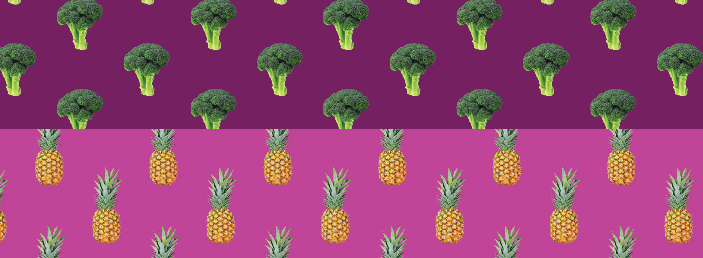 pattern with pineapples and broccoli