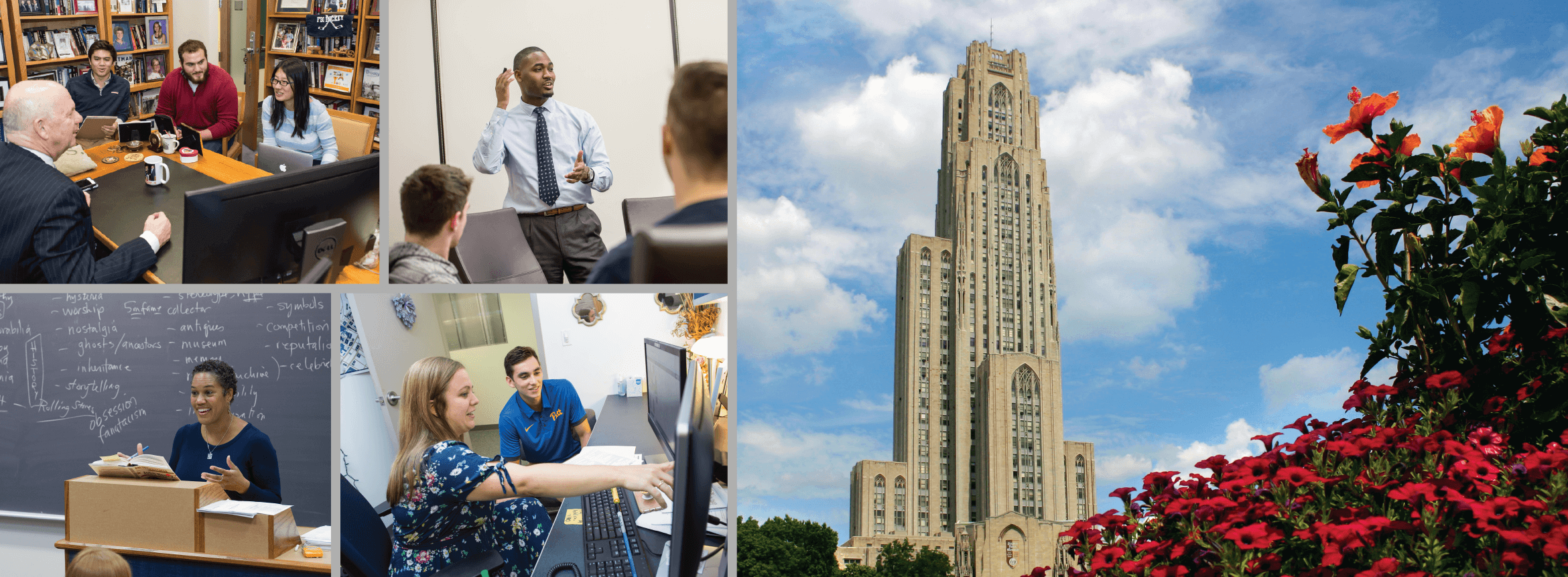 collage photo of pitt staff and faculty