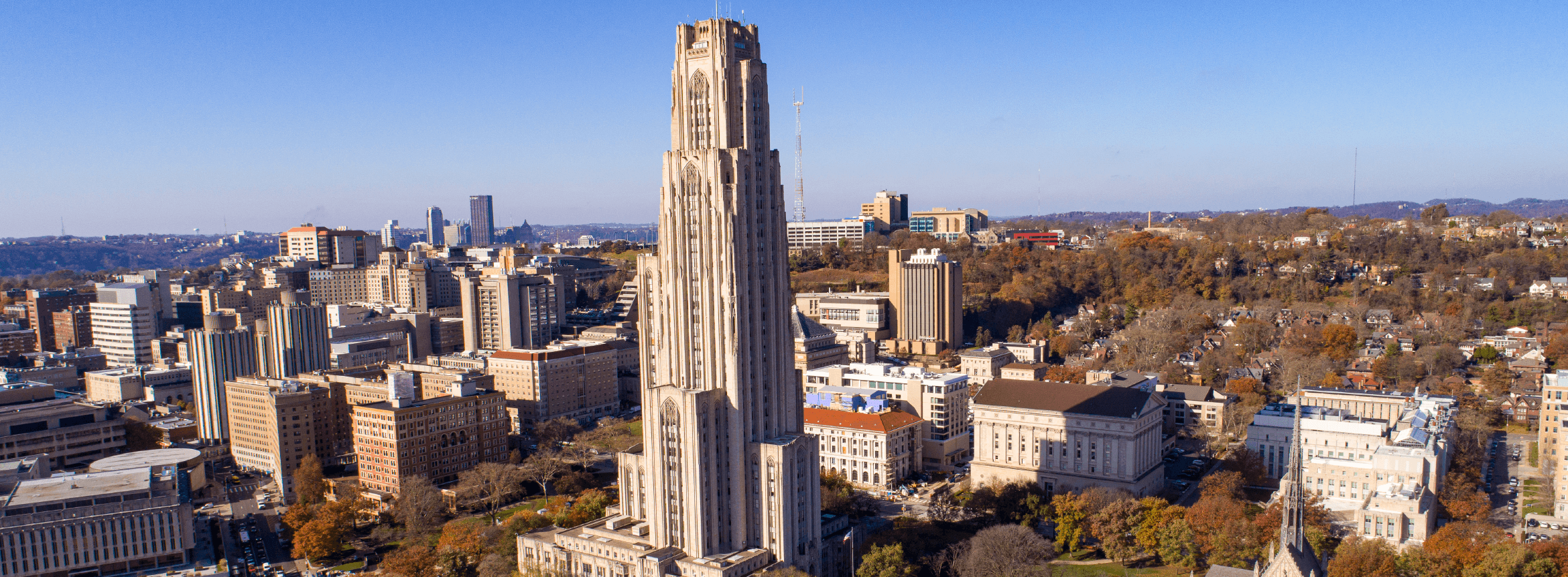 aerial view of oakland and the pittsburgh campus