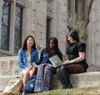 Students studying outside photo